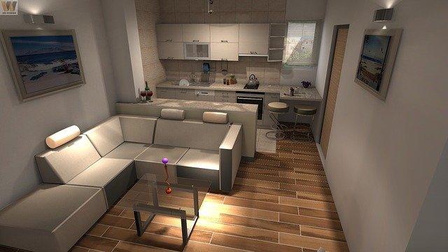 návrh moderní kuchyně s obývákem