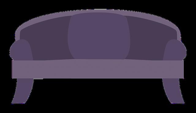 fialový gauč, nákres