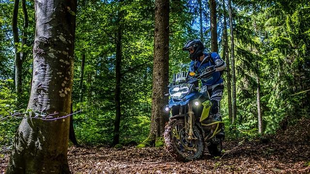 motocyklista v lese