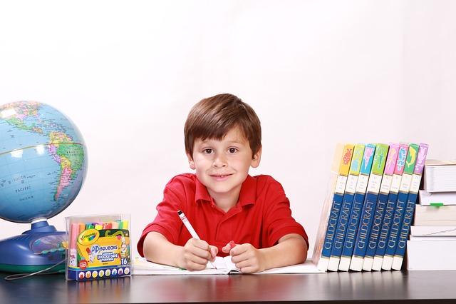 malý chlapec, který má klem sebe studijní pomůcky